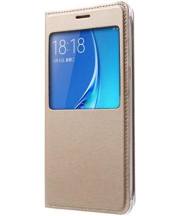 Samsung Galaxy J5 (2016) Window View Flip Hoesje Goud Hoesjes