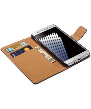 Samsung Galaxy Note 7 Lederen Portemonnee Hoesje Zwart Hoesjes