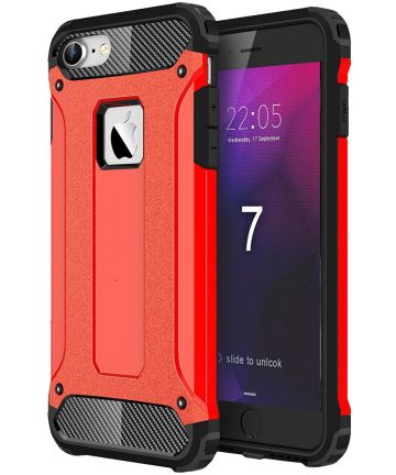 Apple iPhone 7/8 Hoesje Shock Proof Hybride Back Cover Rood Hoesjes