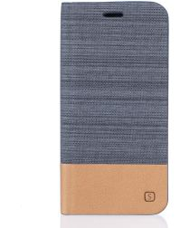Motorola Moto G4 Plus Linnen Textuur Flip Hoesje Gray