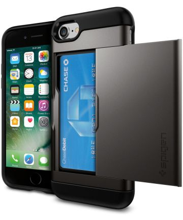 Spigen Slim Armor Card Holder Case Apple iPhone 7 / 8 Gunmetal