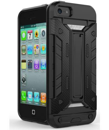 Hybride Apple iPhone 5/5S/SE Hoesje met Kaarthouder Zwart Hoesjes