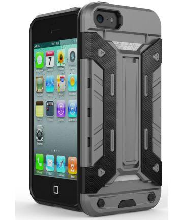 Hybride Apple iPhone 5/5S/SE Hoesje met Kaarthouder Grijs Hoesjes