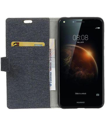 Huawei Y6 II Compact Linnen Portemonnee Hoesje Donker Blauw