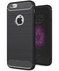 Apple iPhone 6(S) Geborsteld TPU Hoesje Zwart