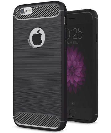 Apple iPhone 6(S) Geborsteld TPU Hoesje Zwart Hoesjes