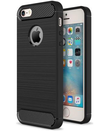 Apple iPhone 5(S)/SE Geborsteld TPU Hoesje Zwart Hoesjes