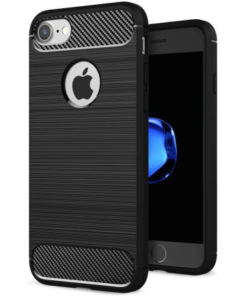 Apple iPhone 7/8 Geborsteld TPU Hoesje Zwart Hoesjes