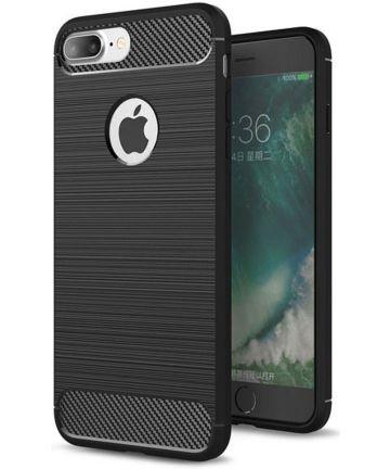 Apple iPhone 7 Plus / 8 Plus Geborsteld TPU Hoesje Zwart Hoesjes