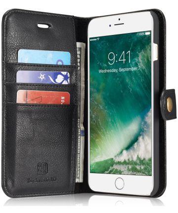 Apple iPhone 7 Plus / 8 Plus Portemonnee Hoesje Echt Leer Zwart