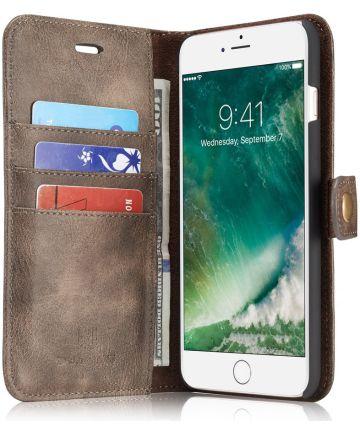 Apple iPhone 7 Plus / 8 Plus Portemonnee Hoesje Echt Leer Bruin Hoesjes