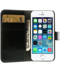 Apple iPhone SE / 5S / 5 Stijlvol Portemonnee Hoesje Zwart