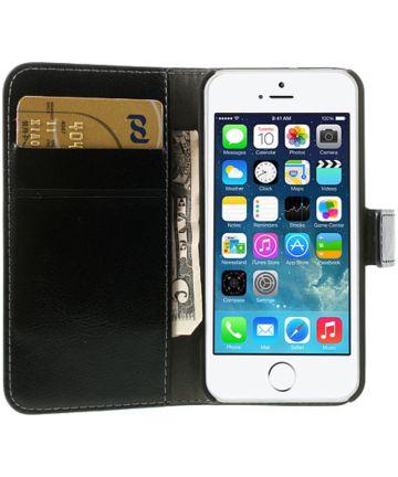 Apple iPhone SE / 5S / 5 Stijlvol Portemonnee Hoesje Zwart Hoesjes