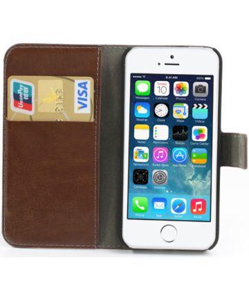 Apple iPhone SE / 5S / 5 Stijlvol Portemonnee Hoesje Bruin Hoesjes