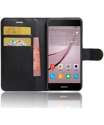 Huawei Nova Grain Portemonnee Hoesje Zwart Hoesjes