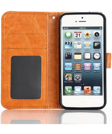 Apple iPhone SE / 5S / 5 Portemonnee Hoesje Bruin Hoesjes