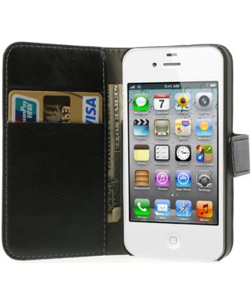 Apple iPhone 4(S) Portemonnee Hoesje Zwart