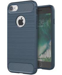 Apple iPhone 7/8 Geborsteld Blauw TPU Hoesje