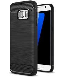Samsung Galaxy S7 Geborsteld TPU Hoesje Zwart