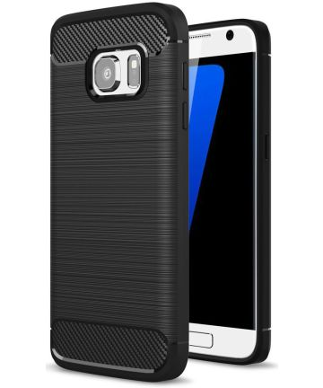 Samsung Galaxy S7 Geborsteld TPU Hoesje Zwart Hoesjes