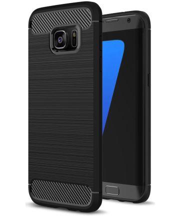 Samsung Galaxy S7 Edge Geborsteld TPU Hoesje Zwart