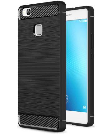 Huawei P9 Lite Geborsteld TPU Hoesje Zwart