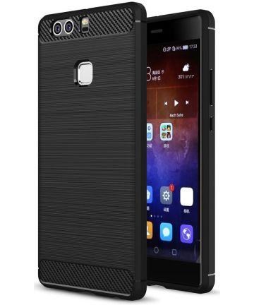 Huawei P9 Plus Geborsteld TPU Hoesje Zwart
