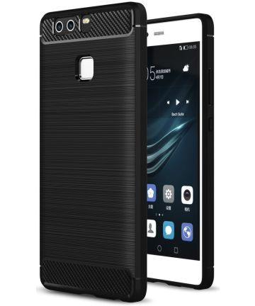 Huawei P9 Geborsteld TPU Hoesje Zwart