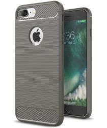 Apple iPhone 7 Plus / 8 Plus Geborsteld TPU Hoesje Grijs