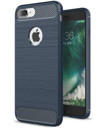 Apple iPhone 7 Plus / 8 Plus Geborsteld TPU Hoesje Blauw