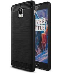 OnePlus 3T / 3 Geborsteld TPU Hoesje Zwart