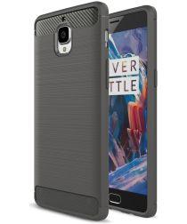 Geborsteld OnePlus 3T / 3 Backcover Armor Hoesje TPU Grijs