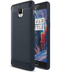 Geborsteld OnePlus 3T / 3 Backcover Armor Hoesje TPU Blauw
