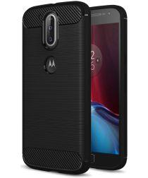 Motorola Moto G4 Geborsteld TPU Hoesje Zwart
