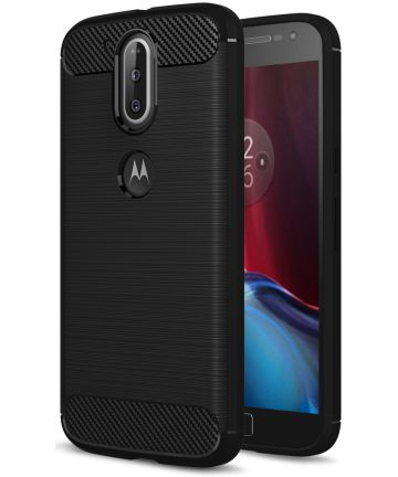 Motorola Moto G4 Geborsteld TPU Hoesje Zwart Hoesjes
