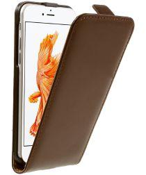 Echt Leren Verticale Apple iPhone 7 / 8 Flip Hoesje Bruin
