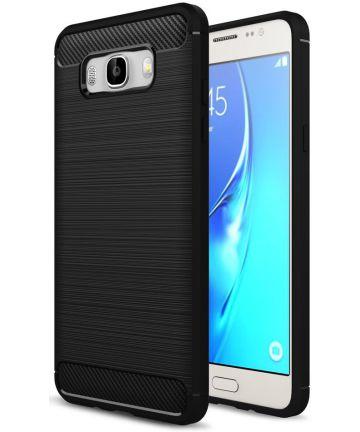 Samsung Galaxy J7 (2016) Geborsteld TPU Hoesje Zwart Hoesjes