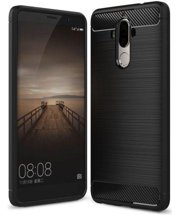 Huawei Mate 9 Geborsteld TPU Hoesje Zwart
