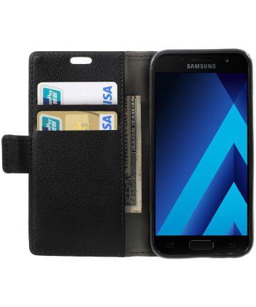 Samsung Galaxy A3 (2017) Stijlvol Portemonnee Hoesje Zwart