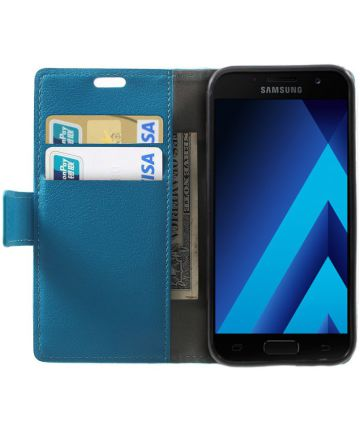 Samsung Galaxy A3 (2017) Stijlvol Portemonnee Hoesje Blauw Hoesjes