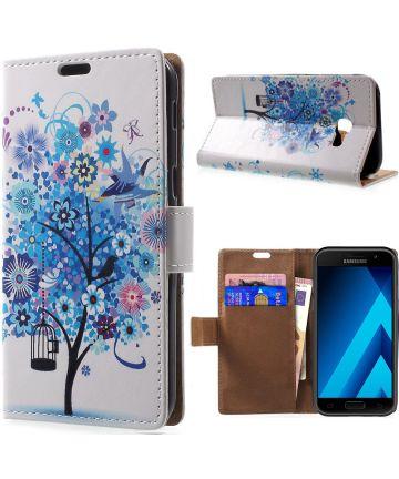 Samsung Galaxy A3 (2017) Portemonnee Print Hoesje Tree Blauw