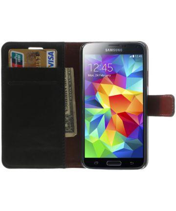 Samsung Galaxy S5 Portemonnee Stand Hoesje Zwart