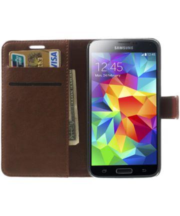 Samsung Galaxy S5 Portemonnee Stand Hoesje Bruin Hoesjes