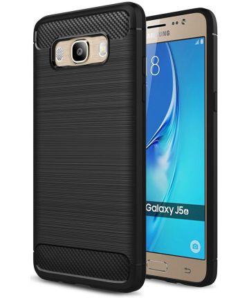 Samsung Galaxy J5 (2016) Geborsteld TPU Hoesje Zwart Hoesjes