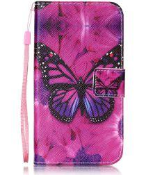 Huawei Y6 2 Compact Portemonnee Purple Butterfly