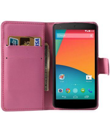 LG Google Nexus 5 Portemonnee Hoesje Paarse Bloemen