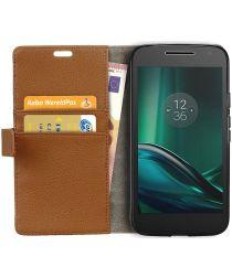 Motorola Moto G4 Play Portemonnee Hoesje Litchi Grain Bruin