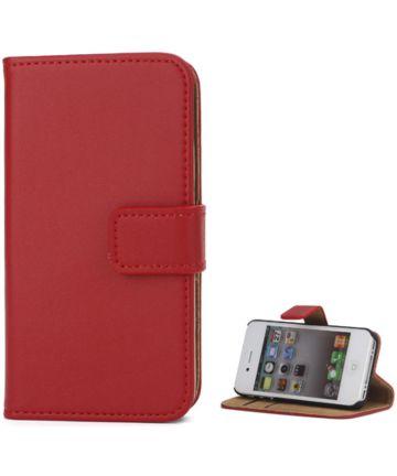 Apple iPhone 4(S) Lederen Hoesje Rood