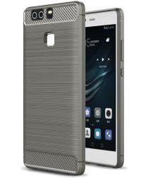 Huawei P9 Geborsteld TPU Hoesje Grijs