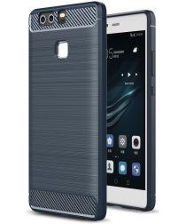 Huawei P9 Geborsteld TPU Hoesje Blauw